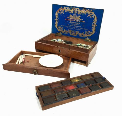 Antique Winsor And Newton Artist Watercolour Wooden Box / Victorian / Paints